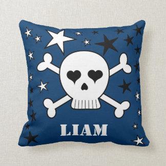 Blue Customizable Cute Crossbone Skull and Stars Cushion