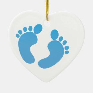 Blue cute baby feet maternity christmas ornament