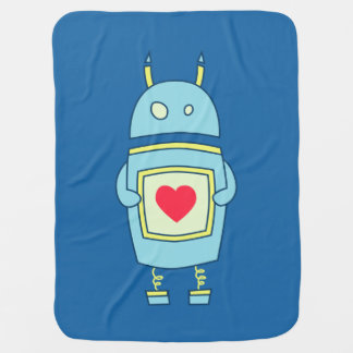 Blue Cute Clumsy Robot With Heart Baby Blanket