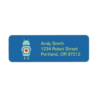 Blue Cute Clumsy Robot With Heart Return Address Label