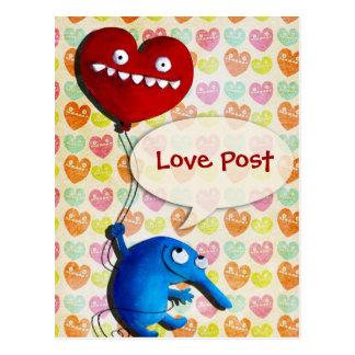 Blue cute creature with heart balloon postcard