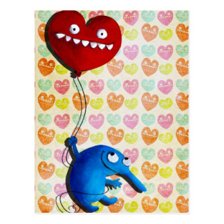Blue cute creature with heart balloon post cards