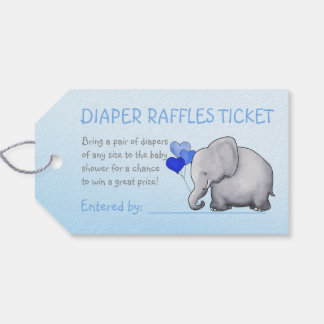 Blue Cute Elephant Boy Baby Shower Diaper Raffle Gift Tags