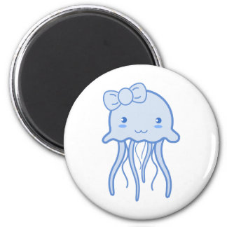 Blue Cute Jellyfish 6 Cm Round Magnet