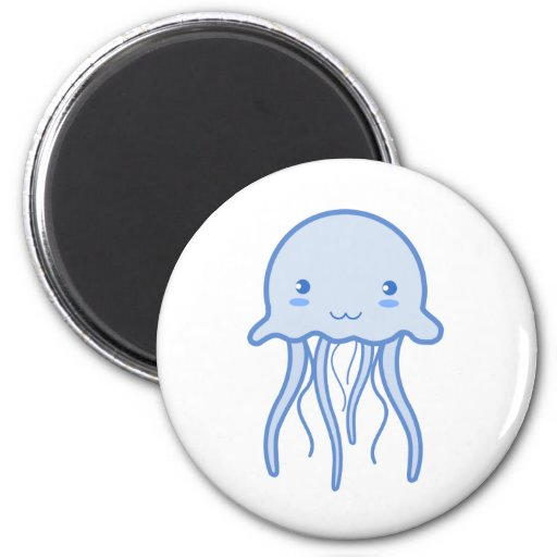 Blue Cute Jellyfish Refrigerator Magnets