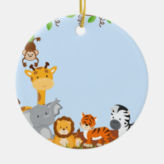 Blue Cute Jungle Baby Animal Ornament