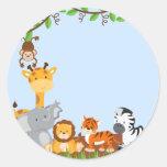 Blue Cute Jungle Baby Animal Sticker