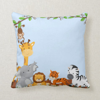 Blue Cute Jungle Baby Animals Pillow