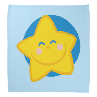Blue Cute Smiling Star Bandanas