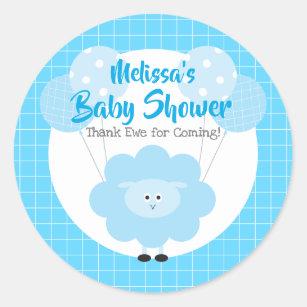 Blue Cute Sweet Lamb, Modern Kawaii Baby Shower Classic Round Sticker