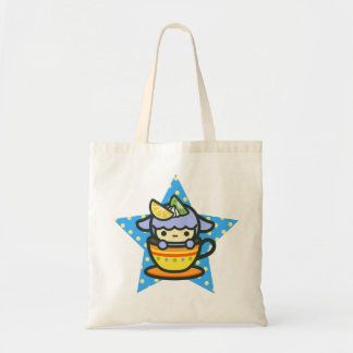 Blue cute teacup and kawaii pet budget tote bag