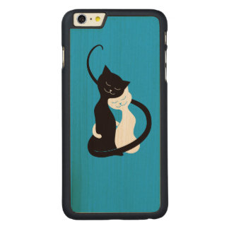 Blue Cute White And Black Cats In Love Carved® Maple iPhone 6 Plus Case
