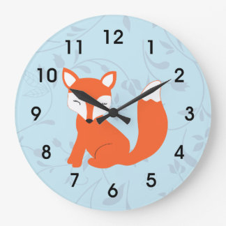 Blue Cute Woodland Baby Fox Large Clock