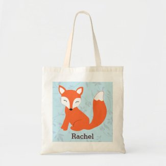 Blue Cute Woodland Baby Fox Personalised Tote