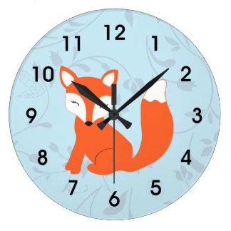Blue Cute Woodland Baby Fox Wall Clock