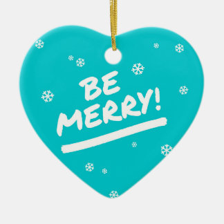 Blue/Cyan Be Merry Marker Pen Holiday Snowflakes Ceramic Heart Decoration