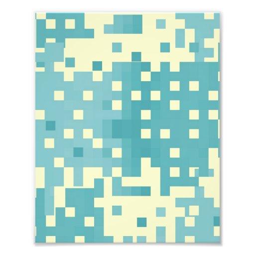 Blue & Cyan Pixel Pattern Photo Print