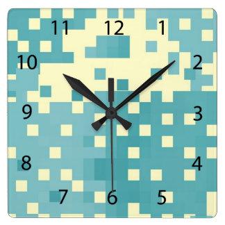Blue & Cyan Pixel Pattern Wallclocks