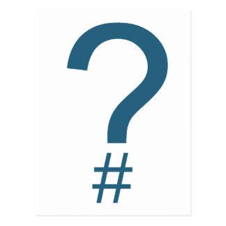 Blue/Cyan Question Tag/Hash Mark Postcard
