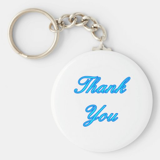 Blue Cyan Thank You Design The MUSEUM Zazzle Gifts Key Chains