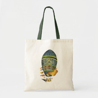 Blue Cylindrical Hot Air Balloon Budget Tote Bag