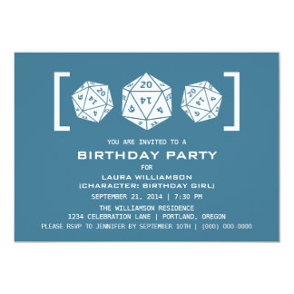 Blue D20 Dice Gamer Birthday Party Invite