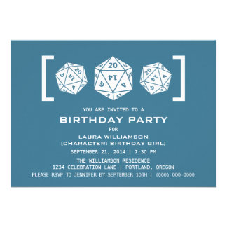 Blue D20 Dice Gamer Birthday Party Invite