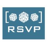 Blue D20 Dice Gamer RSVP Postcard