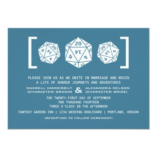 Blue D20 Dice Gamer Wedding Invitation