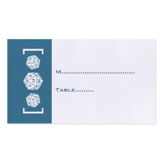 Blue D20 Dice Gamer Wedding Place Card Pack Of Standard Business Cards