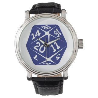 Blue d20 wristwatch