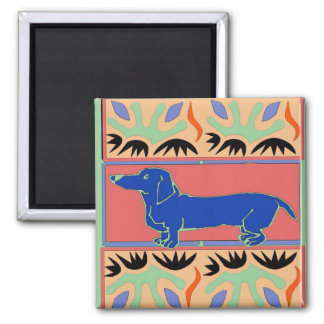 Blue Dachshund Abstract Fauvism Square Magnet