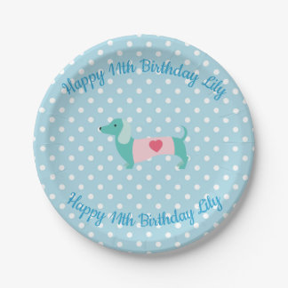 Blue Dachshund Party Plates