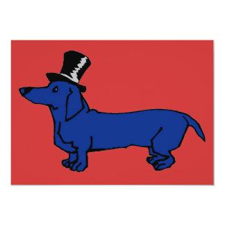 Blue Dachshund Top Hat 13 Cm X 18 Cm Invitation Card