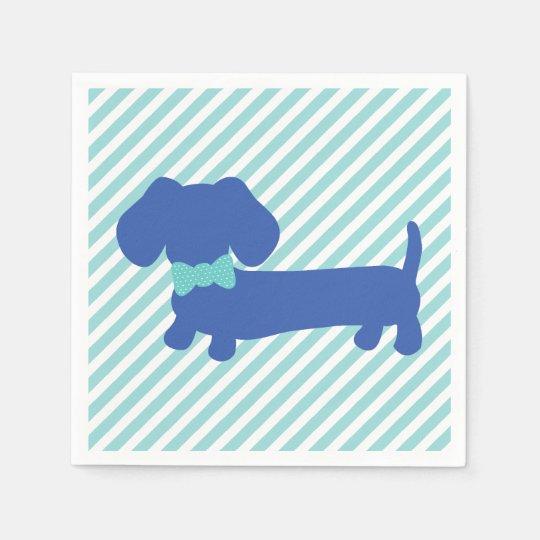Blue Dachshund Wiener Dog Napkins Disposable Serviettes