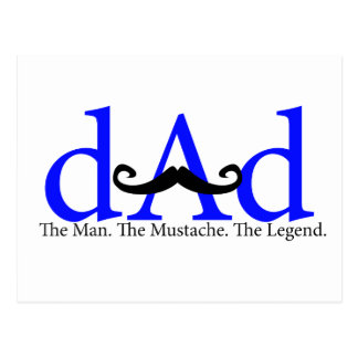 Blue Dad Curly Mustache Postcard