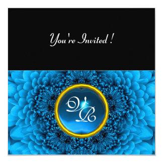 BLUE DAHLIA, AQUAMARINE ,bright  black yellow 13 Cm X 13 Cm Square Invitation Card
