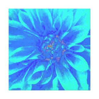BLUE DAHLIA FLORAL FLOWER STRETCHED CANVAS PRINT