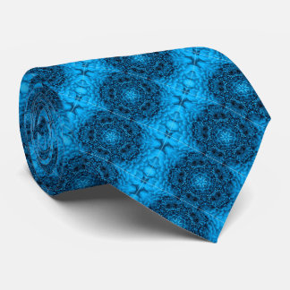 BLUE  DAHLIA FLOWERS Abstract Floral Tie
