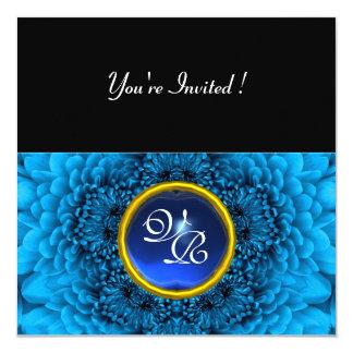 BLUE DAHLIA, SAPPHIRE ,bright  black yellow 13 Cm X 13 Cm Square Invitation Card