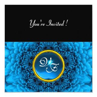 BLUE DAHLIA, SAPPHIRE ,bright  black yellow Personalized Announcement