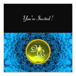 BLUE DAHLIA, TOPAZ ,bright green black yellow 13 Cm X 13 Cm Square Invitation Card