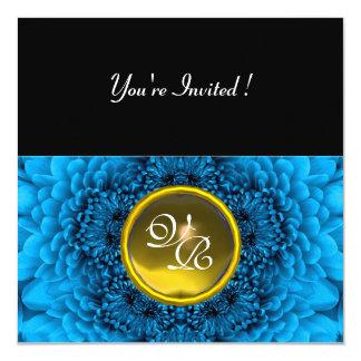 BLUE DAHLIA, TOPAZ ,bright green black yellow Invitations