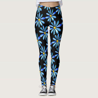 Blue Daisies on-Black Custom Leggings