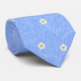 Blue daisies striped pattern. Wedding style Tie