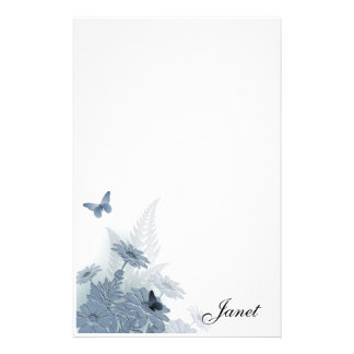 Blue Daisies w/ Butterflies Stationery