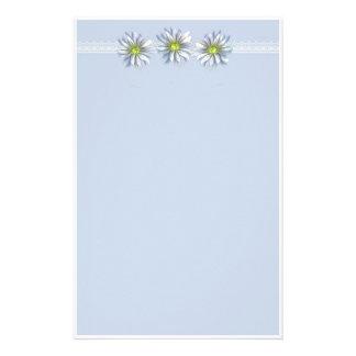 Blue Daisy Flower Drawing Border Stationery