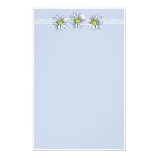 Blue Daisy Flower Drawing Border Stationery
