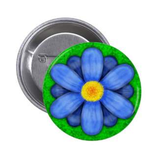 Blue Daisy Flower on Green Beautiful 6 Cm Round Badge