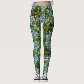 Blue Daisy Geometric Leggings
